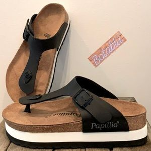 BIRKENSTOCK PAPILLIO Gizeh Platform Black Sandals